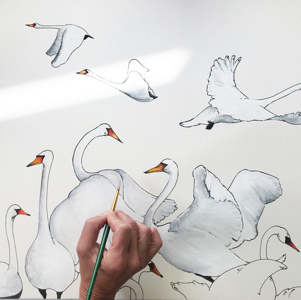 Painting birds for Swan Print