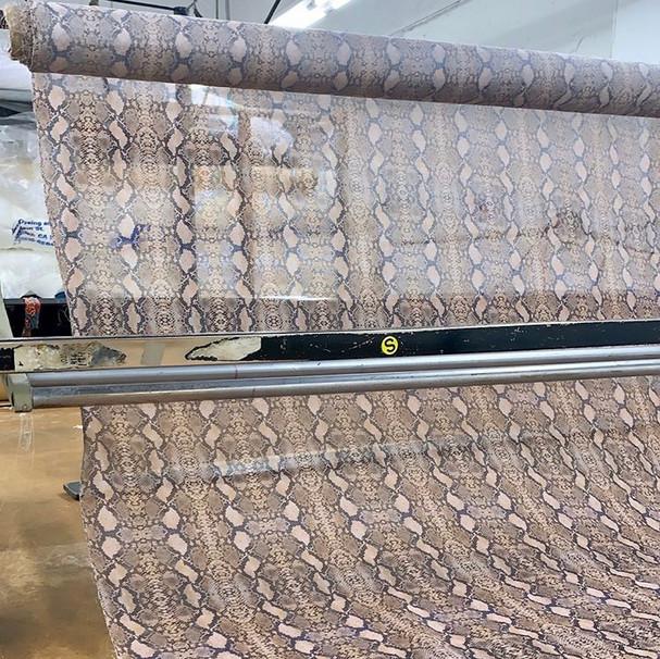 Silk/Cotton Mesh fabric roll in snakeskin print