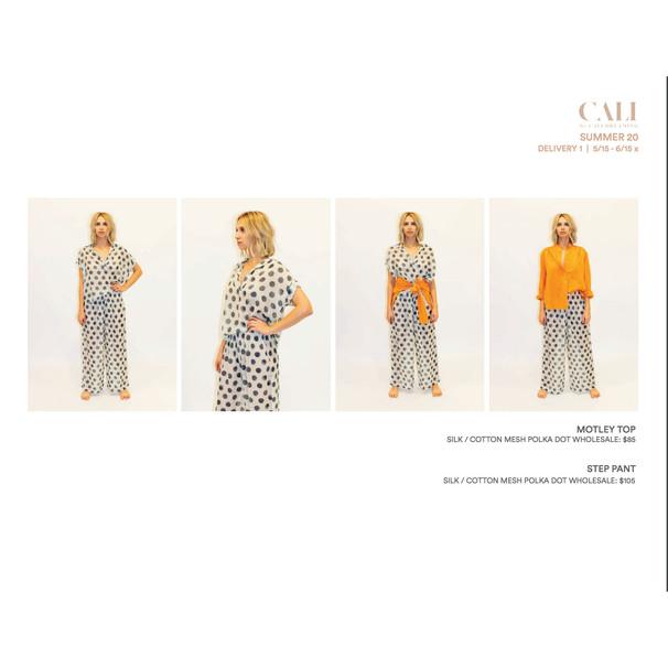 Cali Dreaming's Motley Top and Step Pant in Silk/Cotton Mesh Polkadot Print
