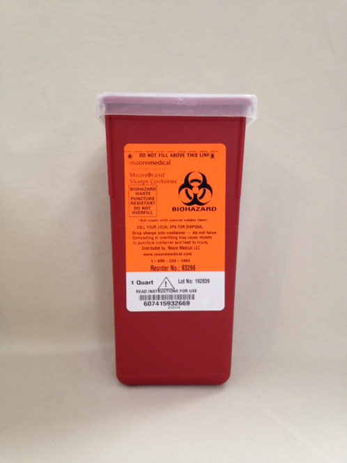 sharps container used for the disposal of dermaplaning blades