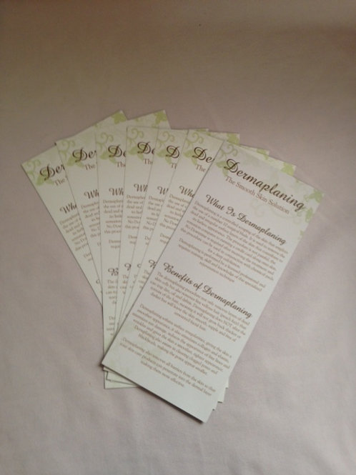 Dermaplaning brochures to promote and explain the dermaplaning treatment to your clients