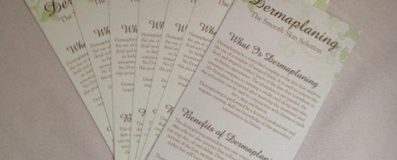 Dermaplaning Rack Cards