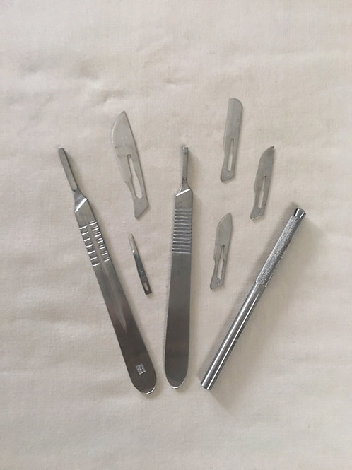 Dermaplaning Sample Package, containing one of each dermaplaning blade handle type and one of each dermaplaning blade type