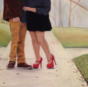 This was a wedding gift for my niece. I had painted one of their engagment photos and surprised her at her bridal shower with it.