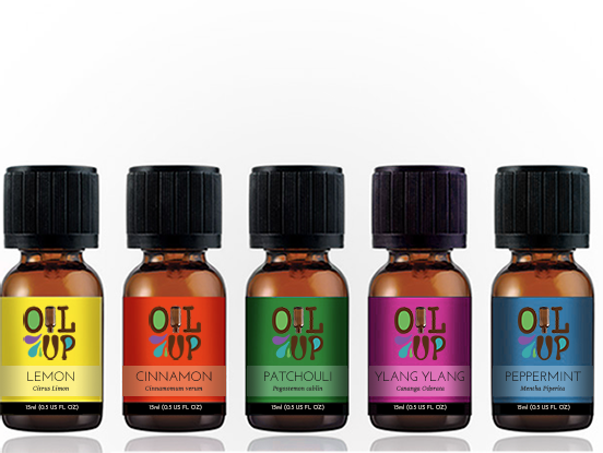 Oil Up essential oils color-coded