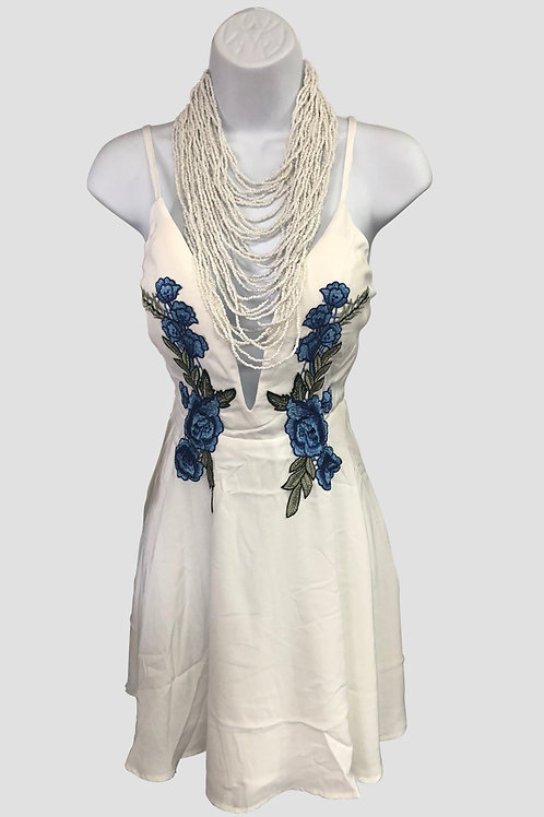 Spaghetti Strap Ivory Dress with Blue Flowers