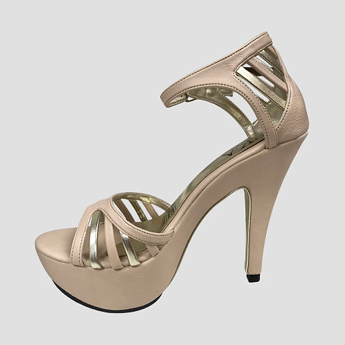 Ska Studio Shoes - Beige with Gold accents