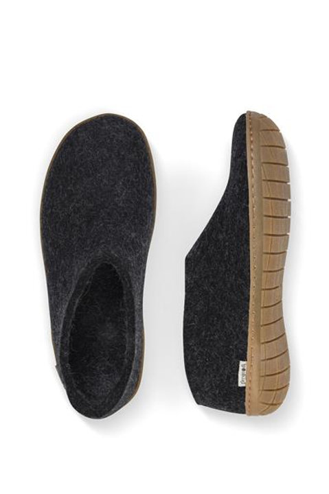 Charcoal Glerups shoe, honey rubber sole