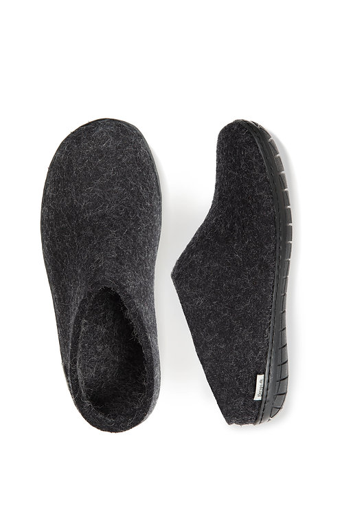 Charcoal Glerups slip on , black rubber sole