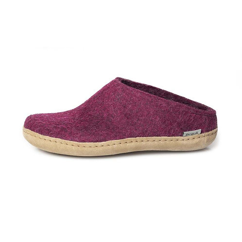 Cranberry Glerups slip on, leather sole