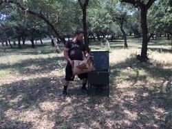 Filling 100 lb Feeder
