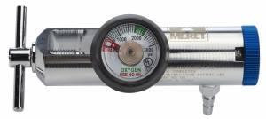 Solid Brass adjustable 0-25 LPM therapy regulator with hose barb outlet.