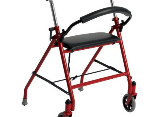 Dual Release Folding Walker with Wheels and Seat Adjustable Height drive™ Alumin
