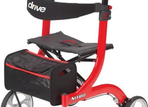 4 Wheel Rollator drive™ Nitro Red Adjustable Height Aluminum Frame