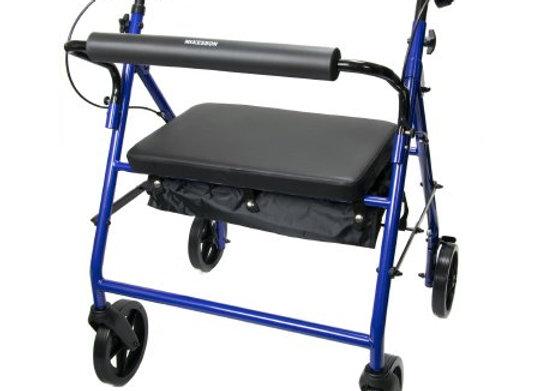 Bariatric 4 Wheel Rollator McKesson Blue Folding Steel Frame