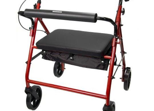 Bariatric 4 Wheel Rollator McKesson Red Folding Steel Frame