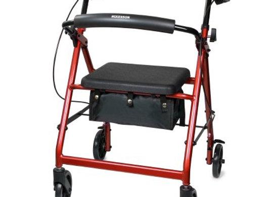 4 Wheel Rollator McKesson Red Folding Aluminum Frame