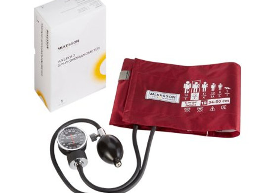 Aneroid Sphygmomanometer with Cuff McKesson LUMEON™ 2-Tube Pocket Size Hand Held