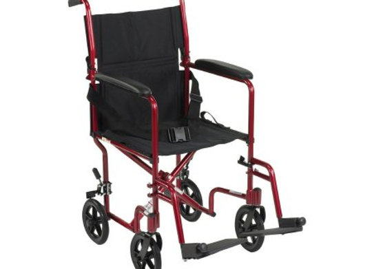 Lightweight Transport Chair McKesson Aluminum Frame with Red Finish 300 lbs. Wei