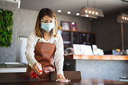 New normal startup small business Portrait of Asian woman barista wearing protection mask