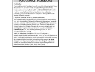 United Counties of Leeds & Grenville - Notice of Pesticide Use