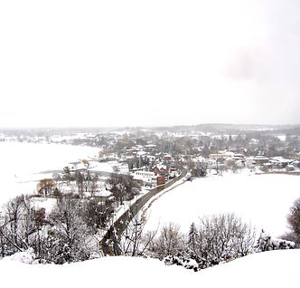 Snow covered Westport Ontario in winter.