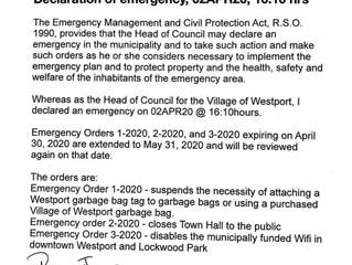 Westport Emergency Orders Extended