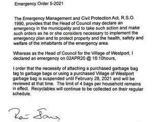 Emergency Order 5-2021 - Garbage Tags & Bags