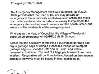 Need to Use Garbage Bag Tags/Bags suspended until April 30, 2020