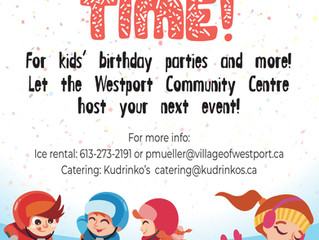 Westport Community Centre now offering Catered Birthday Parties