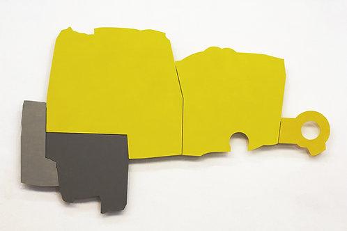 112. Relief 5, 2012, mdf, bois, gonds, peinture acrylique, 149 x 240 x 7,5 cm