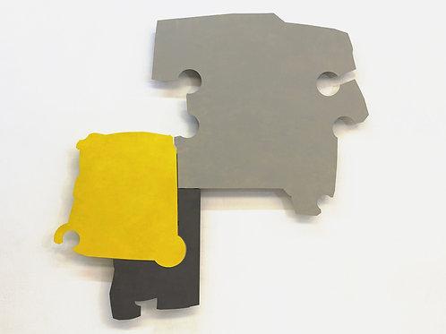 113. Relief 3, 2012, mdf, bois, charnières, peinture acrylique, 160 x 130 x 7 cm