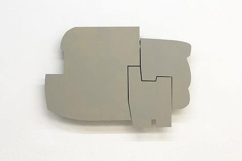 109. Relief 15, 2014, mdf, bois, charnières, peinture acrylique, 70 x 101 x 8 cm