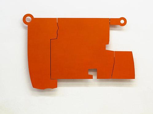 111. Relief 11, 2014, mdf, bois, charnières, peinture acrylique, 99 x 140 x 8 cm