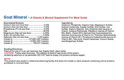 Goat Mineral - Vitamin Supplement For Meat Goats