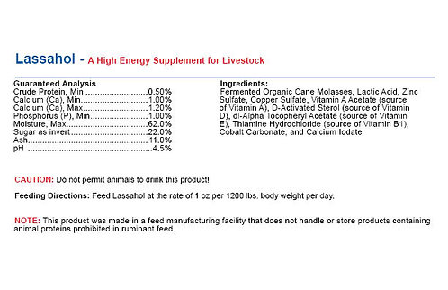 Lassahol- High Energy Supplement for all Livestock