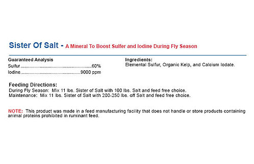 Sister Of Salt - A Mineral To Boost Sulfer and Iodine During Fly Season