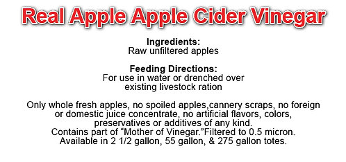 Organic Apple Cider Vinegar 2.5 gallons