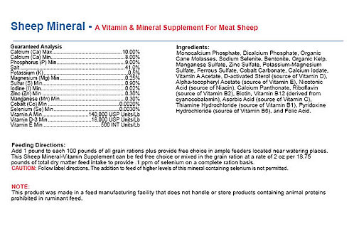 Sheep Mineral - Vitamin Supplement For Meat Sheep