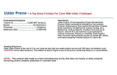 Udder Preme - A Top Dress Formula For Cows With Udder Challenges