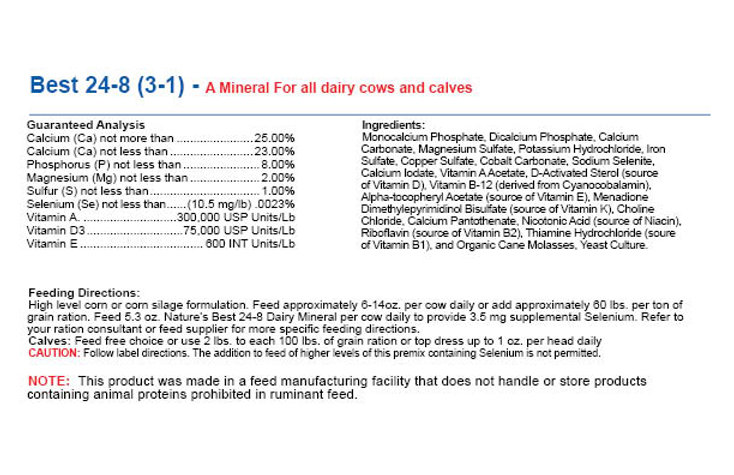 Best 24-8 (3-1) - A Mineral For all dairy cows and calves