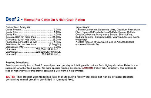 Beef 2 - Mineral For Cattle On A High Grain Ration