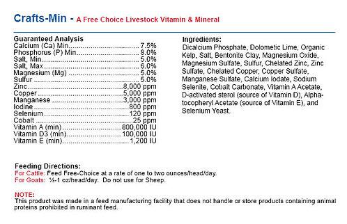 Crafts-MIN - All-In-One Livestock Vitamin/Mineral