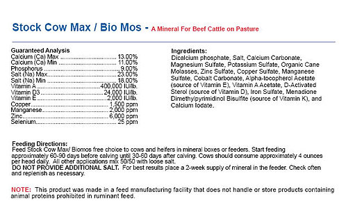 Stock Cow Max/Biomos - A Mineral For Beef Cattle on Pasture