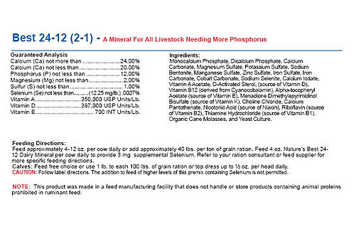 Best 24-12 (2-1) - A Mineral For All Livestock Needing More Phosphorus