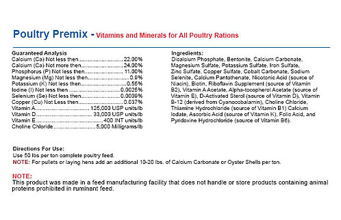 Poultry Premix - Vitamins Minerals For All Poultry