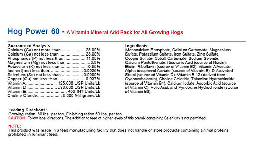 Hog Power 60 - A Vitamin Mineral Add Pack for All Growing Hogs