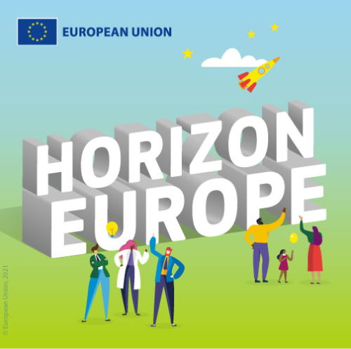 Horizon Europe Logo with images of families and scientists