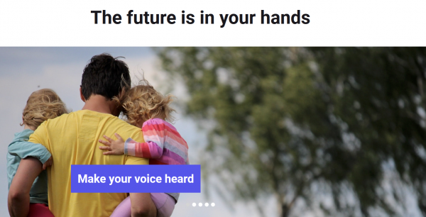 """A man holds two children and text reads """"The future is in your hands: make your voice heard"""""""