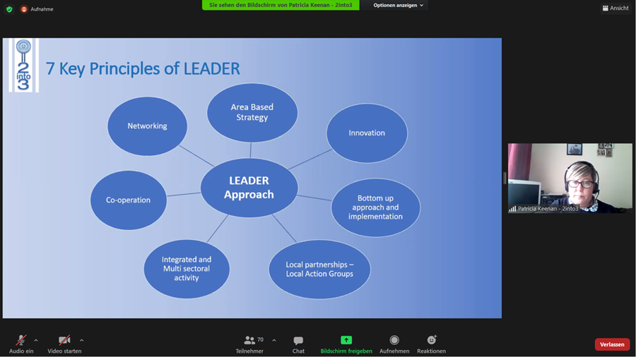 """A screenshot of the Zoom screen showing the facilitator and a slide that says """"7 Key Principles of LEADER"""""""